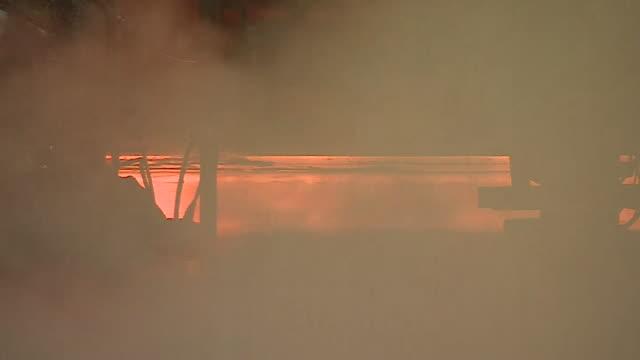 Views of molten steel inside a steelworks