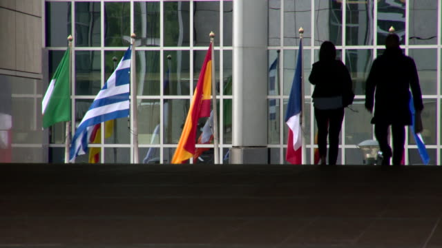 Views of national flags at the European Parliament building in Brussels