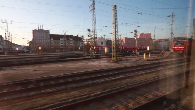 views of nuernberg and munich are seen from a train window in germany on friday february 27 2015 - nordeuropäischer abstammung stock-videos und b-roll-filmmaterial