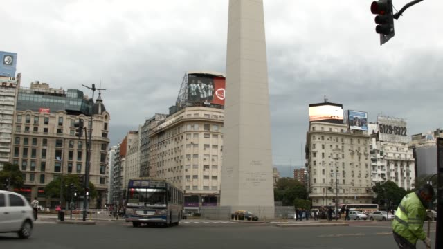 views of obelisco de buenos aires a national historic monument and icon of buenos aires shot on june 11th 2014 - obelisco bildbanksvideor och videomaterial från bakom kulisserna