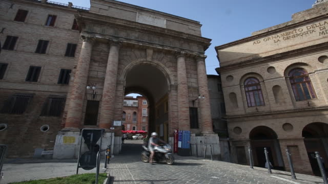 views of old town macerata italy on monday june 11 2018 - awning stock videos & royalty-free footage