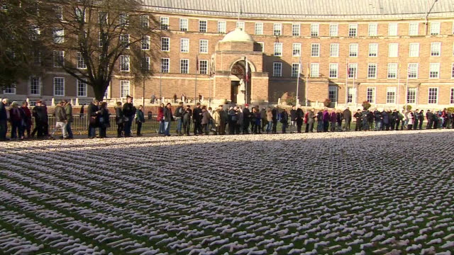 views of over 19000 small figures representing casualties on the first day of the battle of the somme in bristol - armistice stock videos & royalty-free footage
