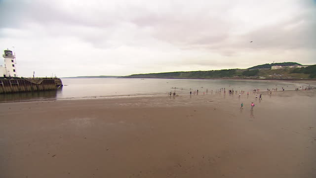 views of people on scarborough beach - taking a break stock videos & royalty-free footage