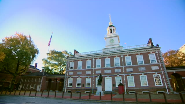 views of philadelphia independence hall - independence hall stock videos and b-roll footage