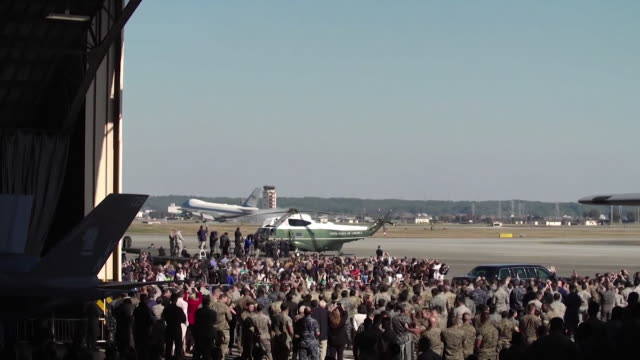 Views of President Donald Trump on an official visit to Yokota Air Base in Japan