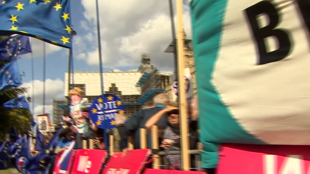 views of pro-brexit demonstrators protesting outside the houses of parliament - 2016 european union referendum stock videos & royalty-free footage