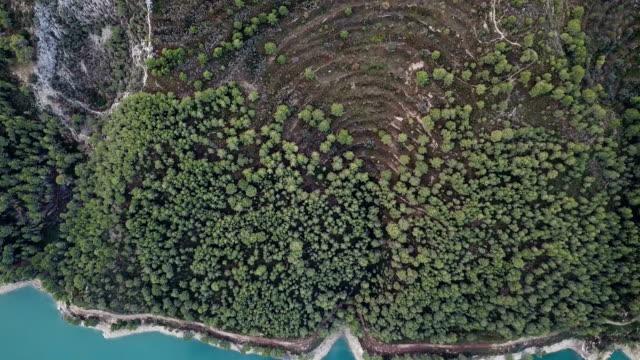 Views of Reservoir of El Castell de Guadalest, Alicante, Spain. Drone video.