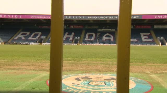 views of rochdale afc's spotland stadium - grass stock videos & royalty-free footage