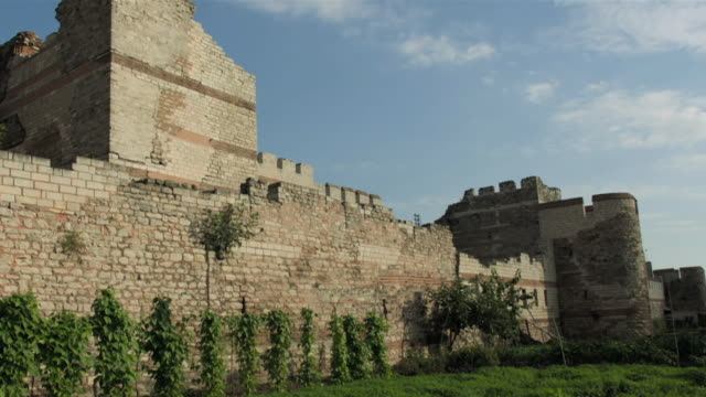 views of roman city walls in istanbul - istanbul stock videos & royalty-free footage