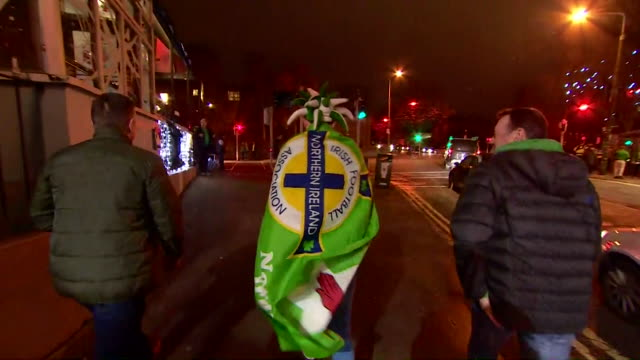 views of scarves, replica football shirts and fans in dublin as the republic of ireland played northern ireland in an international friendly - republic of ireland stock videos & royalty-free footage
