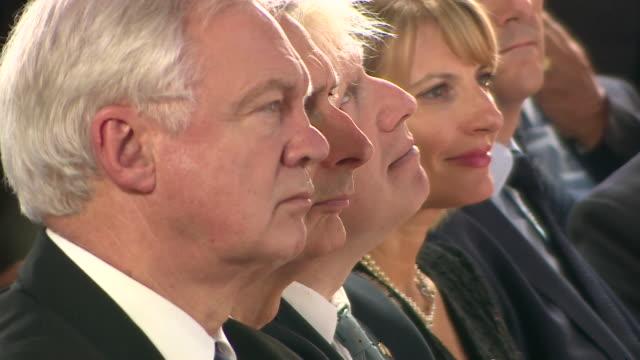 views of senior conservative cabinet ministers david davis philip hammond and boris johnson listening to theresa may's florence speech italy... - bbc video stock e b–roll