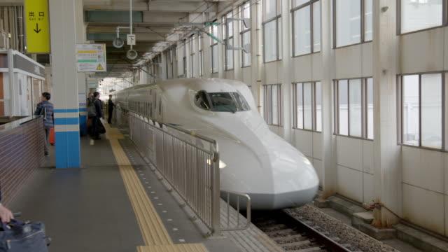 views of shinkansen, or 'bullet trains', japan - railway station platform stock videos & royalty-free footage