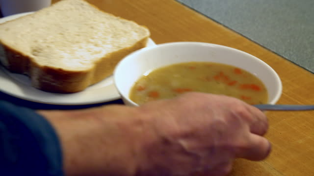 cu views of soup in a former soup kitchen - soup kitchen stock videos & royalty-free footage