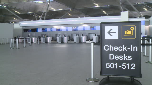 views of stansted airport during the coronavirus crisis - empty stock videos & royalty-free footage
