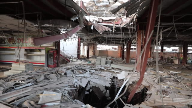 views of the aftermath of a saudi arabian air strike on a department store in taiz yemen - yemen stock videos & royalty-free footage