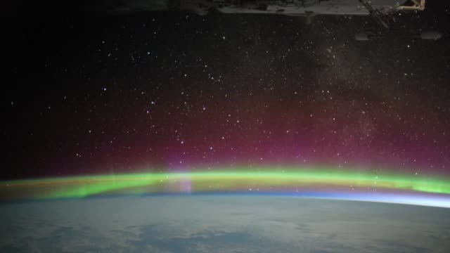 / views of the aurora australis over the indian ocean as seen from the international space station. aurora australis over the indian ocean on january... - aurora australis stock videos & royalty-free footage