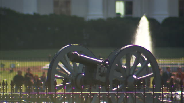 Views of the cannon and Andrew Jackson monuments in Lafayette Square Washington DC