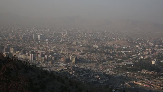 views of the city from the hills above kabul, afghanistan, friday, october 27, 2017. photographer: victor blue – shots: extreme longshot pan right of... - kabul stock videos & royalty-free footage