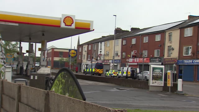 """views of the crime scene in blackburn where teenager aya hachem was murdered - """"bbc news"""" stock videos & royalty-free footage"""