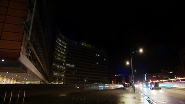 Views of the European Commission building at night