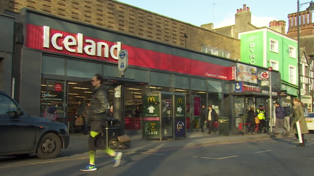 views of the front entrance of an iceland supermarket store - building entrance stock videos & royalty-free footage