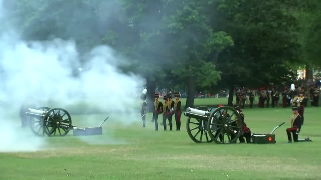 Views of the gun salute welcome to Donald Trump on his state visit to the UK