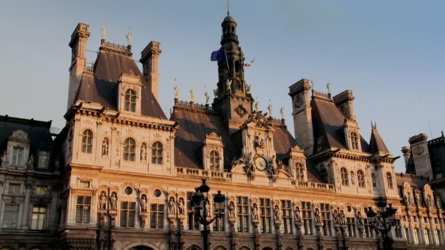 views of the hôtel de ville, paris, france - local politics stock videos & royalty-free footage