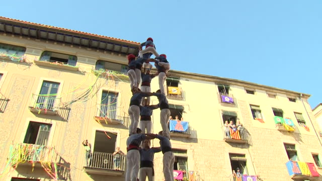 Views of the 'Human Tower' a Catalan tradition in Girona Spain