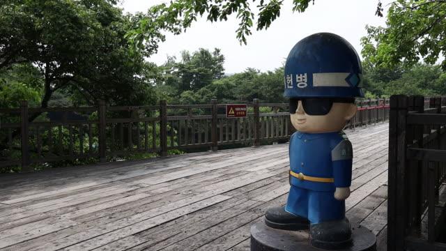 views of the korean border following destruction of joint korea office in rebuke to seoul, in paju, gyeonggi-do, south korea, on wednesday, june 17,... - 朝鮮半島点の映像素材/bロール