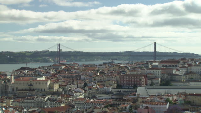 Views of the Lisbon's skyline and the River Tagus, Portugal.
