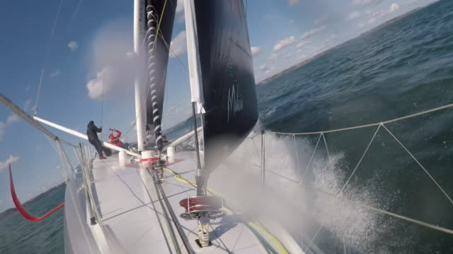 views of the malizia ii sailboat which will take climate change activist greta thunberg from plymouth to new york - sailing stock videos & royalty-free footage
