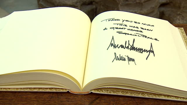 views of the message left by donald trump at westminster abbey during his state visit to the uk - politics stock videos & royalty-free footage