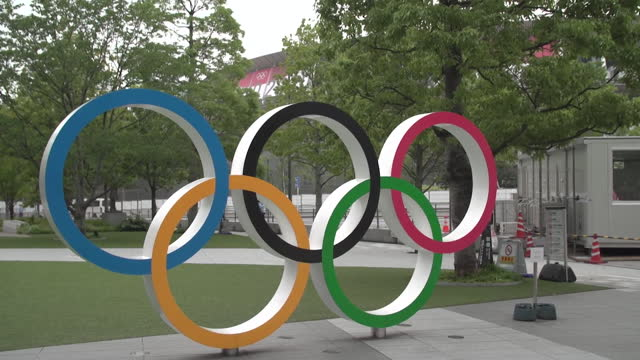 """views of the olympic stadium in tokyo - """"bbc news"""" stock videos & royalty-free footage"""