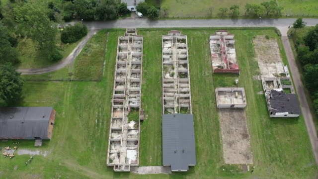 """views of the remains of the stalag x-b world war ii prisoner-of-war camp in sandbostel, germany - """"bbc news"""" stock-videos und b-roll-filmmaterial"""
