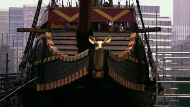 views of the replica of the golden hinde in london - timber stock videos & royalty-free footage