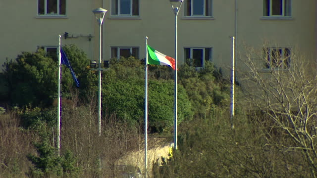 Views of the Republic of Ireland and European Union flags on the Irish border