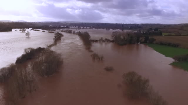 views of the river wye after it burst its banks - river stock videos & royalty-free footage