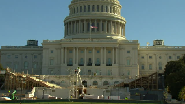 views of the stage being constructed for presidentelect donald trump's inauguration outside the us capitol building - us republican party 2016 presidential candidate stock videos & royalty-free footage