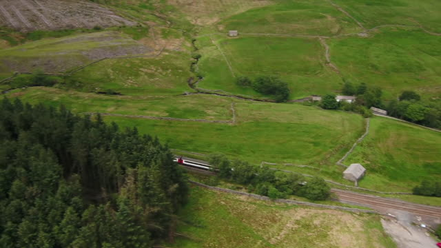 views of the 'staycation express' tourist train moving through cumbria - grass family stock videos & royalty-free footage