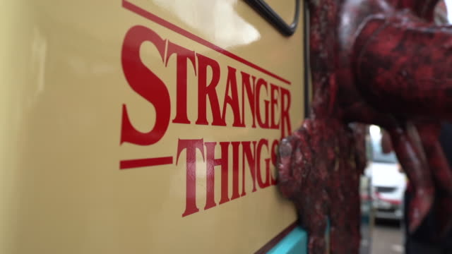 views of the stranger things 'scoops ahoy' ice cream van in camden london - netflix stock videos & royalty-free footage