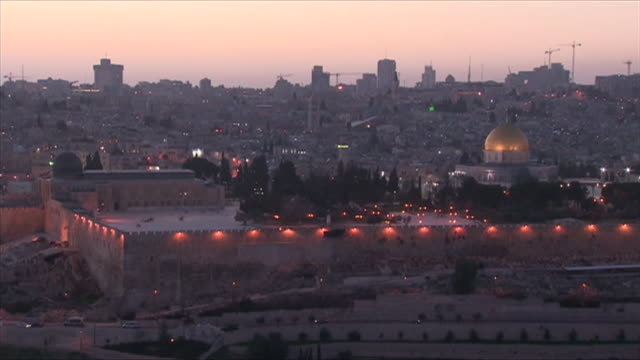 Views of the Sun setting over Jerusalem