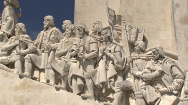 Views of the the Padrão dos Descobrimentos - Monument to the Discoveries - next to the Tagus in Lisbon, Portugal.