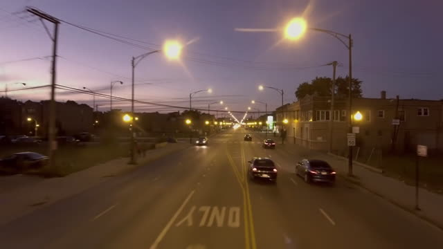 views of traffic at night in south side chicago - south america stock videos & royalty-free footage