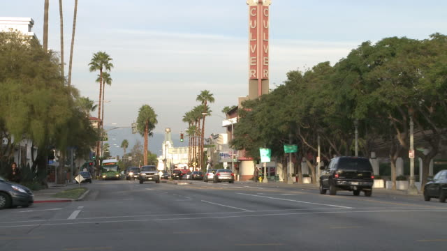 ws views of traffic on street in culver city / los angeles, california, united states - culver city stock videos & royalty-free footage