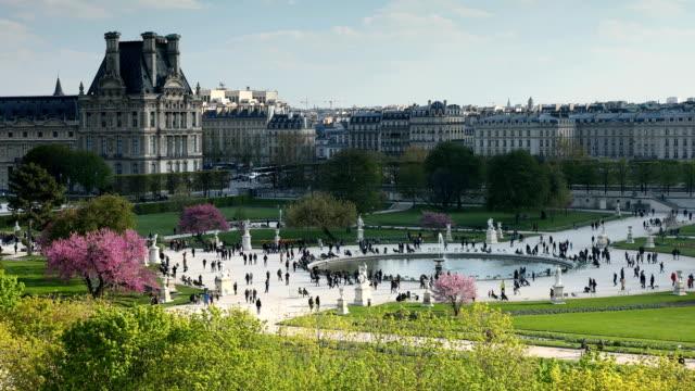 vidéos et rushes de vues de tuileries paris - végétation verdoyante