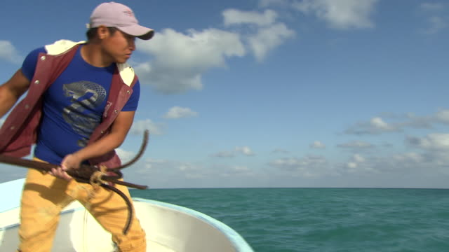 views on a small motorboat off the yucatan peninsula - throwing stock videos & royalty-free footage