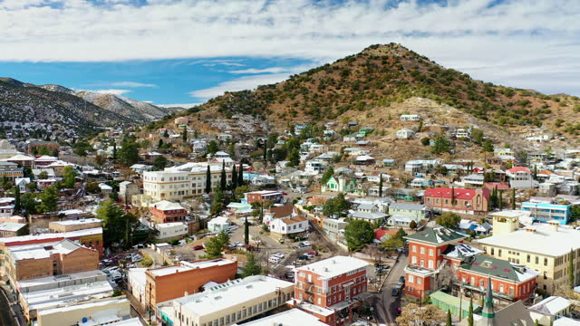 views over the historic gold mining town of bisbee, az. - street name sign stock videos & royalty-free footage