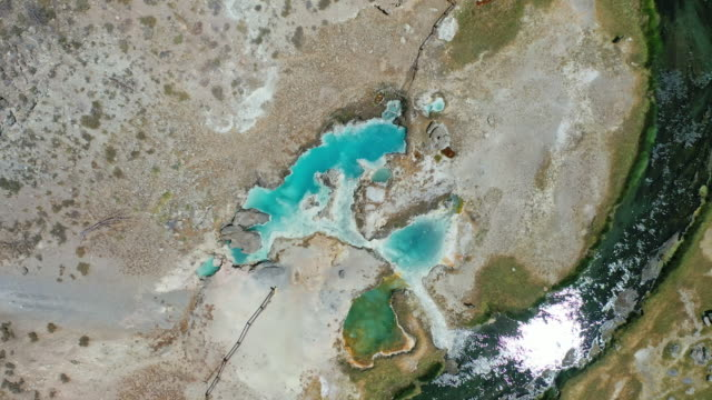 views over the hot pools and hot springs in mammoth - mammoth lakes video stock e b–roll