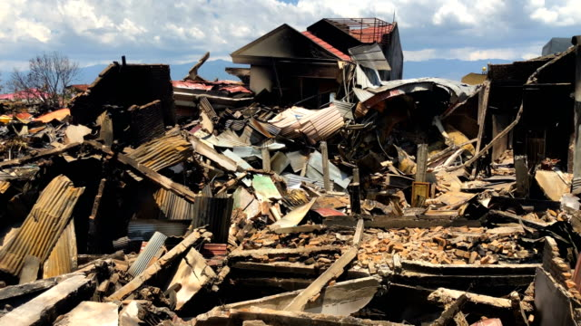 Views the rubble and debris of destroyed buildings following an earthquake on October 02 2018 in Palu Indonesia Indonesias disaster response agency...