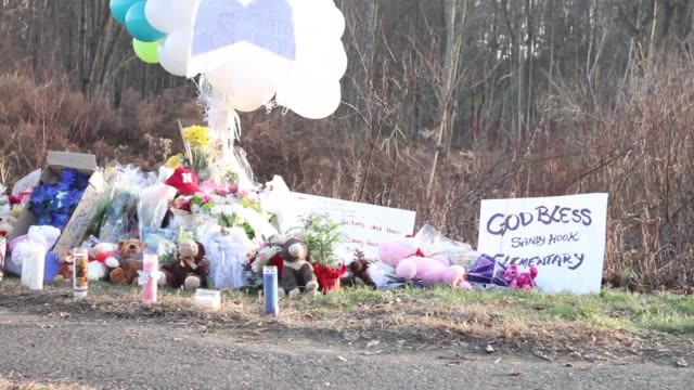 a vigil at the sandy hook elementary school in newtown ct at the closest place to where the media can be to the school shooting at elementary school... - newtown connecticut stock videos & royalty-free footage